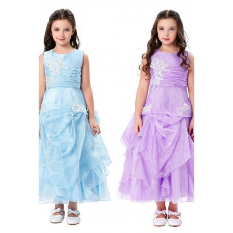 Ruffled Embroidred Lace Flowers Pageant / Flowergirl Dress (2 Colors)