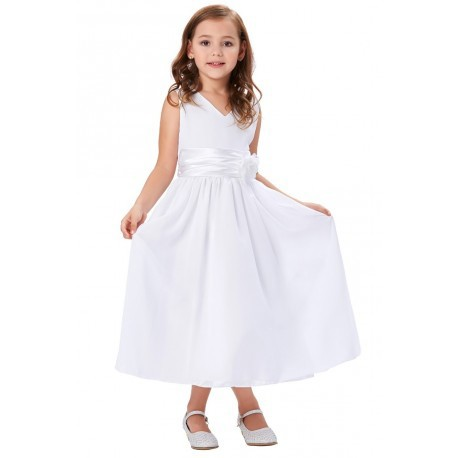 Sleeveless V-Neck Chiffon Princess Flowergirl Dress (2 Colors)
