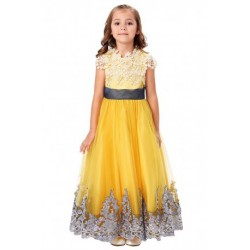 Lace Applique Amber Floor Length Pageant or Flowergirl Dress