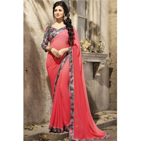 Divyanka Tripathi Red Plain Floral Border Designer Saree