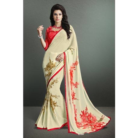 Pleasing Cream Color Party Wear Printed Georgette Saree