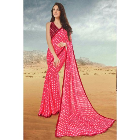 Red Georgette Designer Saree with Art Silk Blouse