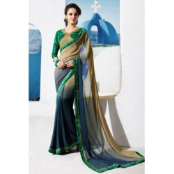 Designer Partywear Georgette Printed Saree with Lace work