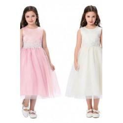 Lace Sequined Satin Princess Flowergirl Dress (5 Colors)