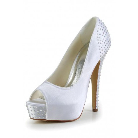 Classic Peep Toe Wedding Shoes