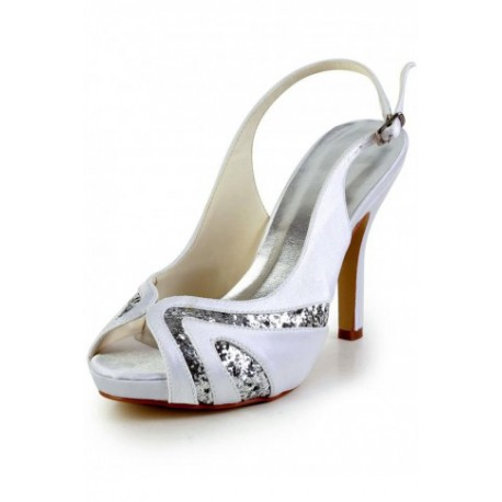 Sparkle Peep-Toe Wedding Shoes