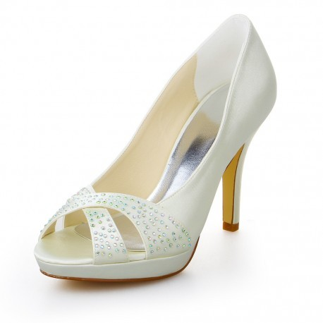 Isabelle Peep-Toe Wedding Shoes