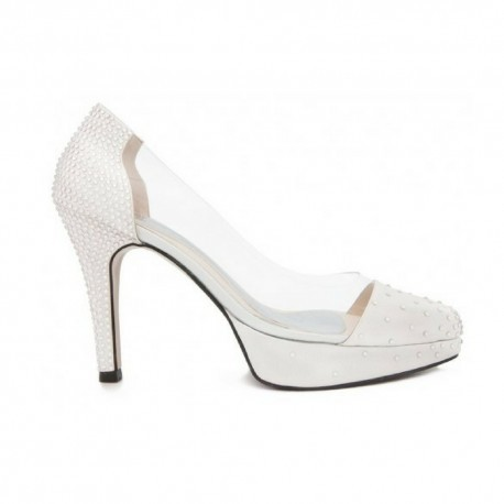 Annika Ivory White Swarovski Rhinestone Transparent Wedding Shoes