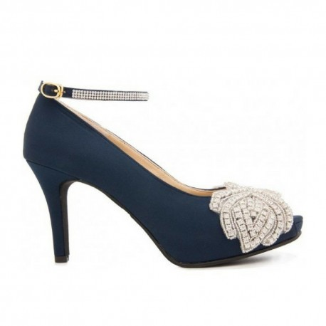 Paola Navy Blue Silk With Applique Diamante Evening Shoes
