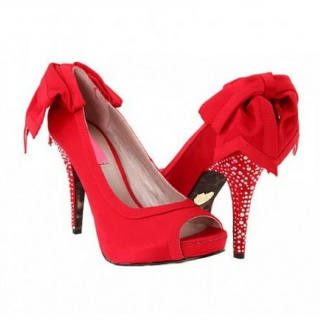 Rosemarie Red Satin Swarovski Rhinestone Bow Wedding Shoes