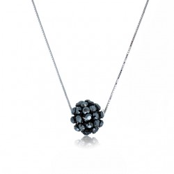 Kelvin Gems Glam Small Black Diva Ball Pendant Necklace m/w SWAROVSKI Elements