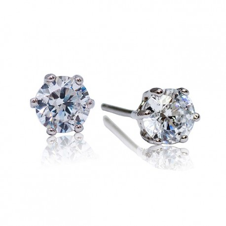 Kelvin Gems Premium 6 Prong Solitaire Stud Earrings m/w SWAROVSKI Zirconia