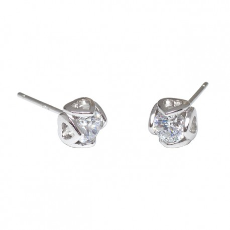 Kelvin Gems Premium Four Heart Stud Earrings m/w SWAROVSKI Zirconia