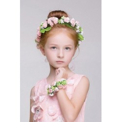 Floral Foam Wreath Flower Girl Headband - Peach