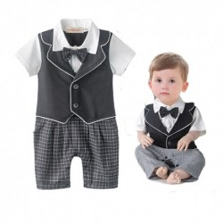 Baby Black Vest Checker Romper With Bow Black