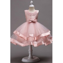 Elegant Sleeveless Beading Evening Dress Flower Girl Gown Pink 4-8y