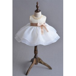Baby Girl Dress Bowknot Pageant Dress Champagne