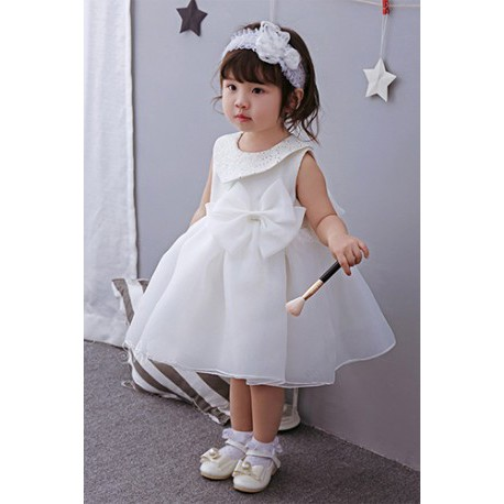 Baby Dress  Big Ribbon Collar Princess Birthday Dress