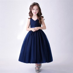 Elegant Champagne Girls Frocks Designer Party Dress Gown