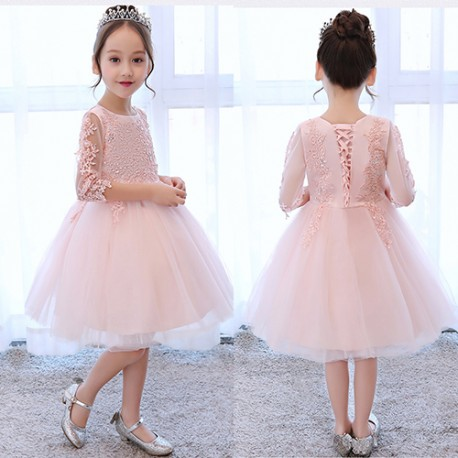 Elegant and Pretty Long Sleeve Lace Pretty Flower Girl Dress