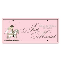 Just Married Personalized Printed Car Plate - Riding Couple