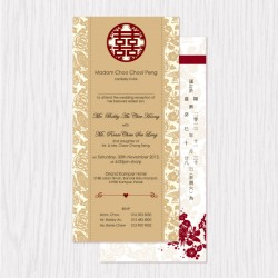 Chinese Floral Traditional Flat Cards - 100 pcs (3 Colors)