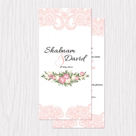 Sweet Floral Printed Flat Cards - 100 pcs (3 Colors)
