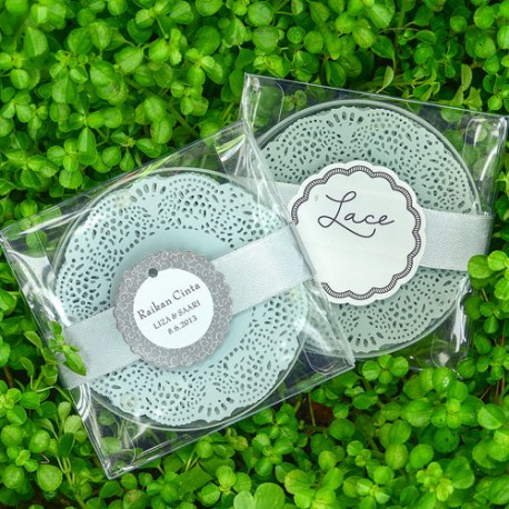 Doily Lace Round Glass Coaster (100 Pieces)