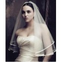 Charming Wedding Bridal Bride Veil Satin Edge Elbow Off White